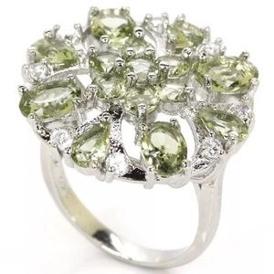 Green Amethyst & 925 Silver Statement Ring